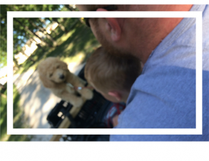 My Husband, boy, dog on a four-wheeler