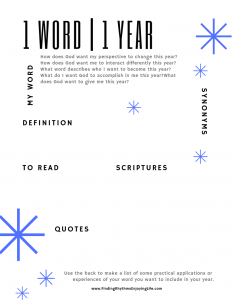 1 Word for 1 Year printable