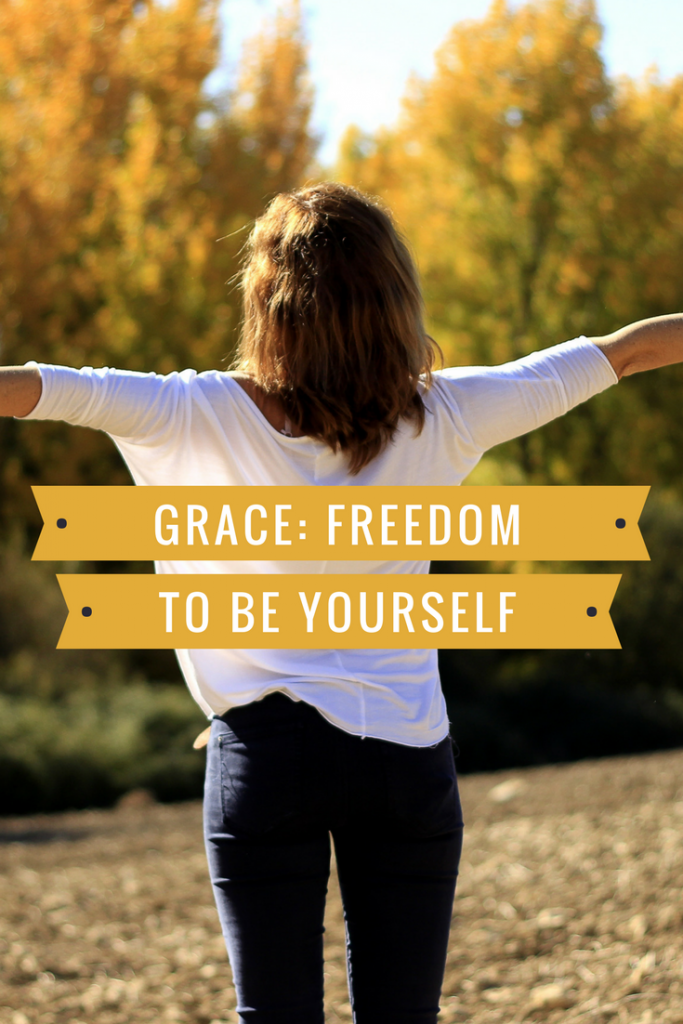 Principle - Grace: Freedom to be yourself. Image - individual with arms extended, face towards sun