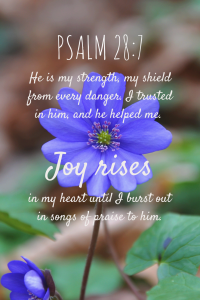 He is my strength, my shield from every danger. I trusted in him, and he helped me. Joy rises in my heart until I burst out in songs of praise to him.