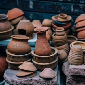 various clay pots