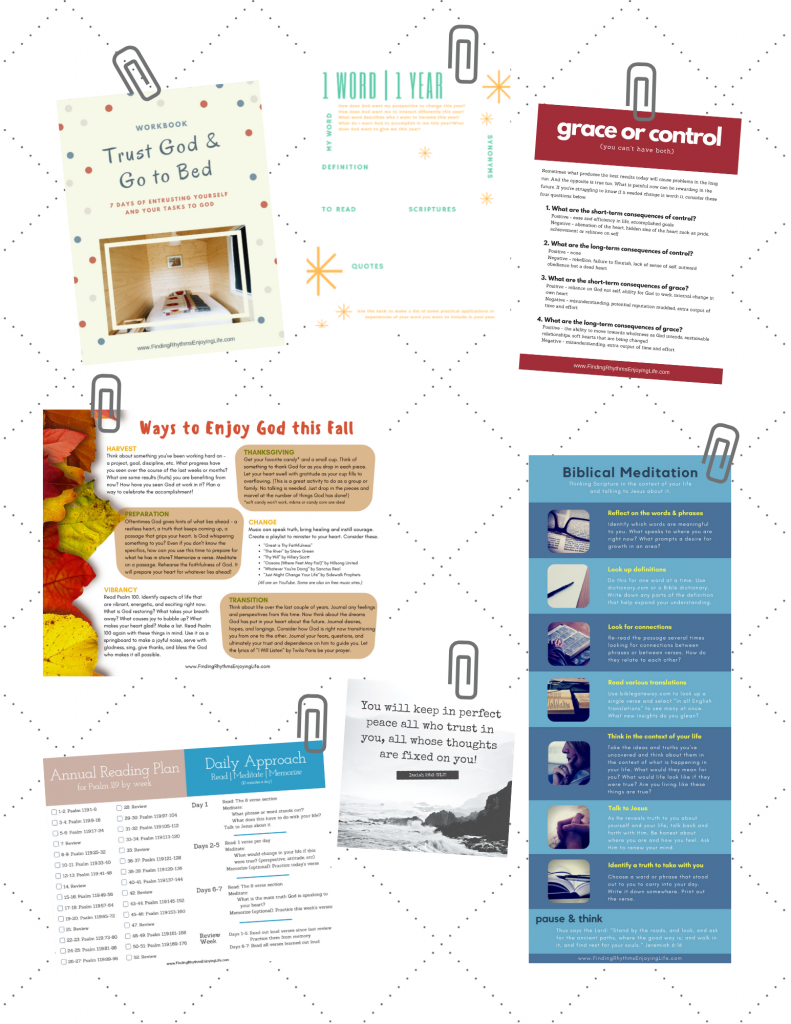 Images of various resources available in the FREE Resource Library