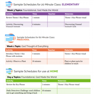 examples of various sample schedules